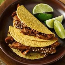Turkey-Mole Tacos Recipe - Enjoy these turkey-mole tacos made using Progresso(TM) chicken broth and Old El Paso(R) shells – a wonderful Mexican dinner that's ready in just 20 minutes.
