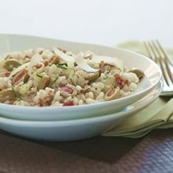 Risotto with Bacon, Leeks and Spanish Olives