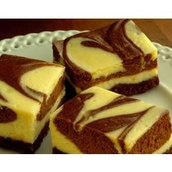 Marbled Cheesecake Bars Recipe - The marble swirl of chocolate in these cheesecake bars adds flavor and looks elegant.