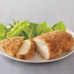 Parmesan Crusted Chicken Recipe - The simplest and most savory way to dress up chicken breasts for a quick supper is just to top them with mayonnaise, sprinkle with Parmesan cheese and bread crumbs, and bake. Dinner will be ready in 30 minutes or less.