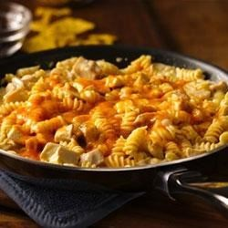Cheesy Southwest Chicken Skillet Recipe - Make this 30-minute skillet dinner featuring pasta, chicken, Progresso™ Recipe Starters™ creamy three cheese cooking sauce and Old El Paso® diced green chiles--perfect for southwestern meals.