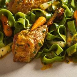 Roast Lemon-Parsley Chicken Drums and Carrots with Fettuccine Recipe - For the perfect pasta and chicken meal, roast drumsticks with baby carrots, scallions, and grated lemon zest; toss with fettuccine; serve and enjoy.