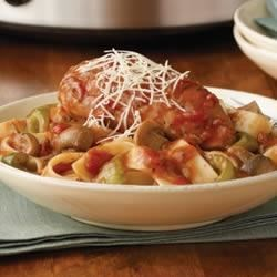 Savory Slow-Cooked Chicken Cacciatore Recipe - The only thing better than coming home after a long day is having a delicious dinner waiting for you. In the morning, put the ingredients in the slow cooker . . . and you'll come home to this comforting and flavorful topper for cooked pasta.