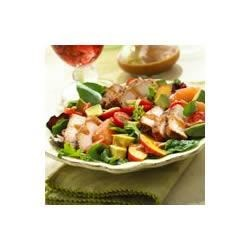 BBQ Pork Salad with Summer Fruits and Honey Balsamic Vinaigrette Recipe - A festive, colorful salad with the fresh flavors of summer fruits and sliced BBQ pork dressed with a spicy honey balsamic vinaigrette. A tasty one-dish meal for summer!