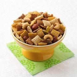 Indian Spiced Chex(R) Mix Recipe - Stir up a taste adventure with three tasty cereals, three crunchy nuts, and a perfect blend of spices.