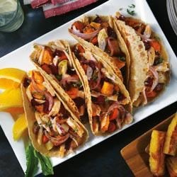 Sour Citrus Pork Tacos with Caramelized Root Vegetables