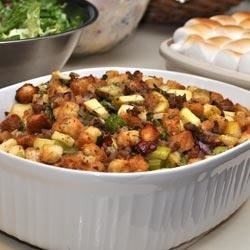 Cornbread Chipotle Chorizo Stuffing Recipe - This cornbread stuffing with chorizo, green bell pepper, and TABASCO(R) Chipotle Pepper Sauce is a great side with chicken, pork, and, of course, your roast turkey.