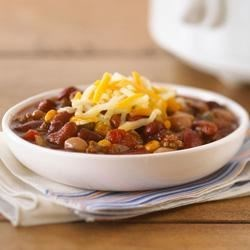 Slow-Cooker Hearty Beef Chili Recipe - Try this simple slow-simmering beef chili. The salsa adds a nice little kick and saves on prep time.
