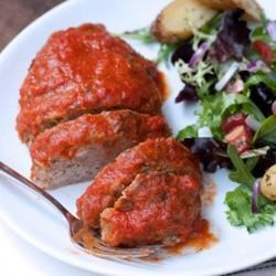 Italian Ricotta and Rosemary Meatloaf with Marinara