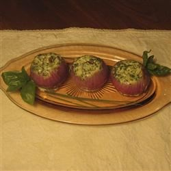 Roasted Red Onions Stuffed With Mascarpone Cheese Recipe - An easy and innovative vegetable side dish, the rich flavor of oven-roasted red onions is accented by a creamy filling of herb-seasoned mascarpone.