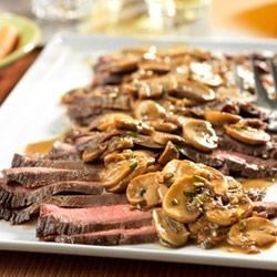 Flank Steak with Mushroom Sauce Recipe - Trendy and tasty, this skillet recipe is a simple and delicious way to prepare flank steak...and the flavorful sauce is absolutely divine!
