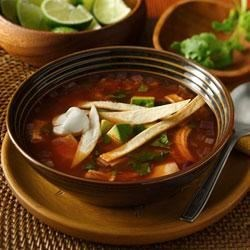 Easy Tortilla Soup from Old El Paso(R) Recipe - This soup comes together in no time!  Crunchy tortilla strips add some great texture for a perfect lunch or dinner.