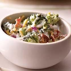 Creamy Bacon and Broccoli Salad Recipe - Broccoli florets, bacon pieces, shredded cheese, chopped onions, and sunflower seeds are tossed together in a creamy garlic sauce.