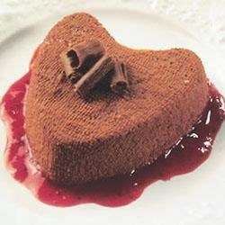 Chocolate Coeur a la Creme with Strawberry Sauce