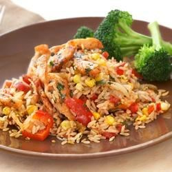 Fiesta Chicken from Uncle Ben's(R) Recipe - Begin with Uncle Ben's(R) Rice and spice things up. With fiesta chicken, you'll get that south of the border flavor of chilies and cilantro, complimented by healthy, hearty, whole grain brown rice.