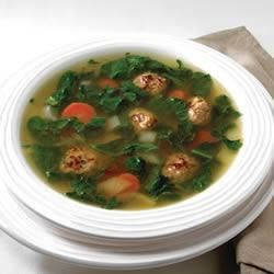 Sausage and Spinach Soup Recipe - Chicken broth is the secret to making a quick and delicious homemade soup that has just 4 grams of carbs!