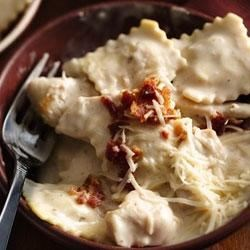Basil Chicken Ravioli Carbonara Recipe - Make this one-dish Italian-style skillet dinner--ready in 20 minutes--using Progresso™ Recipe Starters™ creamy Parmesan basil cooking sauce.