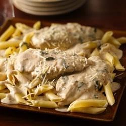 Creamy Basil Chicken Recipe - Enjoy dinner cooked with chicken, pasta and Progresso™ Recipe Starters™ creamy Parmesan basil cooking sauce--a flavorful meal.
