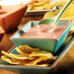 Picante Cream Cheese Dip Recipe - It couldn't be easier to make this zesty dip...it combines cream cheese and picante sauce to ensure you've got a tasty appetizer ready in a snap.