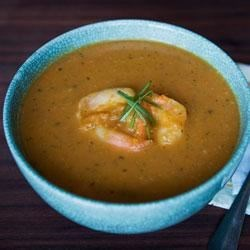 Spicy Pumpkin and Shrimp Soup from the LACTAID(R) Brand Recipe - Turn a can of pumpkin into an exciting soup. Just the right blend of ginger, cilantro, allspice, and garlic gives the pumpkin and shrimp a Caribbean-style flavor.