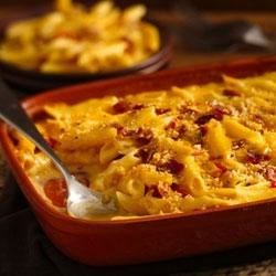 Easy Weeknight Bacon Mac 'n Cheese Recipe and Video - Bacon-spiked macaroni and cheese in just 15 minutes! Our Progresso™ Recipe Starters® creamy three cheese cooking sauce plus American cheese slices make it extra cheesy and creamy. Check our oven directions if you prefer you mac baked.