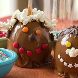 Werther's Funny Face Caramel Apples Recipe - Give your caramel apple some personality with assorted candies and chocolates. They're as much fun to make as they are to eat!