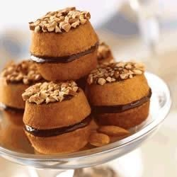 Whoopie Almond Chocolate Pies Recipe - Almond paste is used to make the batter for these chocolate filled sandwich cookies.