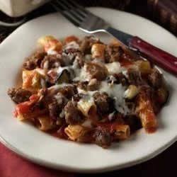Baked Ziti with Johnsonville Italian Sausage Recipe - This baked pasta dish combines sweet Italian sausage, tomatoes, eggplant, and kalamata olives.