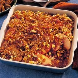 Scalloped Apple Bake Recipe - Take a walk on the sweet side with this flavorful, fruit-packed stuffing bake that is good with most any meat, but especially good with pork dishes.