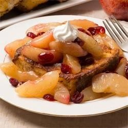 French Toast Apple Cobbler Recipe - French toast baked on a layer of golden raisins and apple pie filling makes a simple but elegant brunch dish.