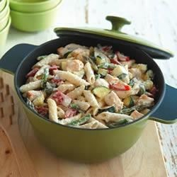 Creamy PHILADELPHIA(R) Pasta Primavera Recipe - Penne pasta is combined with boneless chicken breast, red bell pepper, fresh asparagus, and zucchini in a cream sauce.