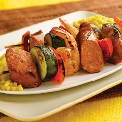 Grilled Chipotle Chorizo Chicken Sausage & Shrimp Kabobs Recipe - Grill these sausage and vegetable skewers and serve with a side of couscous.