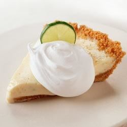 """Greek"" Key Lime Pie Recipe - Quick, creamy key lime pie with Greek-style yogurt and lots of lime zest bakes up in less than 20 minutes."