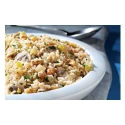 Quick Brown Rice and Mushroom Pilaf Recipe - This flavorful rice pilaf made with Minute(R) Brown Rice, mushrooms, onions, celery and  chicken broth, is wonderful paired with chicken or pork.