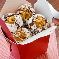 Chocolate Walnut Crinkle Cookies