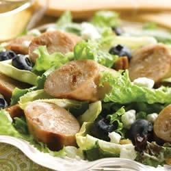 Sweet Apple Chicken Sausage, Endive, & Blueberry Salad with Toasted Pecans Recipe - This salad combines savory chicken sausage, sweet blueberries, and a tangy vinaigrette with goat cheese and pecans. Serve it as a side dish, light dinner, or simple and satisfying lunch.