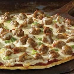 Johnsonville Easy Sausage Pizza Recipe - Pre-baked pizza crust, topped with sausage, green peppers and cheese makes a quick and easy dinner.