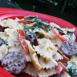 Bow Tie Pasta with Sausage and Spinach