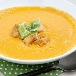 RWOP Finalist: Roasted Tomato and Pepper Soup with Pesto Cream Cheese