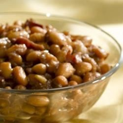 Honey Apple Butter Baked Beans Recipe - Minimum prep time yields maximum flavor in these sweet and savory baked beans with a kick of heat from cayenne pepper.