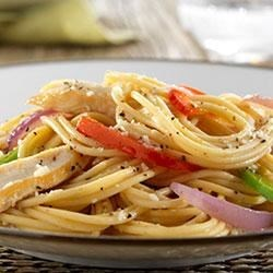 Spaghetti with Chicken Breast, Bell Peppers and Romano Cheese Recipe - This delicious protein-packed pasta dish uses PLUS pasta for additional boosts of fiber and ALA-Omega 3.