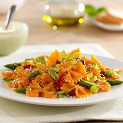 Farfalle with Roasted Red Bell Peppers, Asparagus and Parmigiano Reggiano Cheese Recipe - This hearty, flavorful pasta is made even healthier with Barilla Veggie Farfalle, made with carrots and squash for an additional veggie boost.