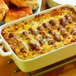 Breakfast Link Bake Recipe - When serving a hungry crowd, this breakfast sausage, potato, and egg bake is sure to satisfy kids and adults alike.