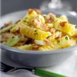 Chicken and Bacon Pasta Salad with Maille(R) Dijon Originale Mustard Recipe - This hearty pasta salad combines chicken, bacon and onions, with Dijon mustard and olive oil for a flavorful side dish or picnic-ready main course.