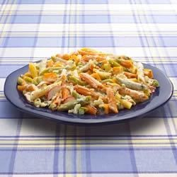 Festive Pasta Salad Recipe - This colorful pasta salad is loaded with crunchy fresh vegetables and cubed Cheddar cheese.