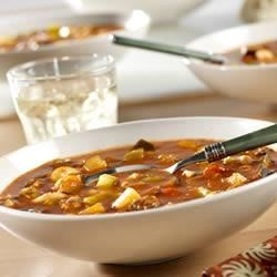Ratatouille Soup Recipe - Are you looking for a hearty soup that doesn't take all day to make?  Try this delicious soup packed with beef, pasta, eggplant and zucchini, that's ready in just under 45 minutes.