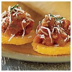 Polenta Hors D'oeuvres with Sausage and Basil