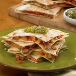 Johnsonville(R) Chipotle Monterey Jack Cheese Chicken Sausage Quesadillas Recipe - Need a quick snack or light lunch? Try these chipotle chicken sausage quesadillas with chopped red pepper, green onions, and shredded Colby Jack cheese!
