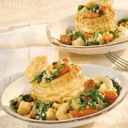 Roasted Winter Vegetable Ragout in Pastry Cups