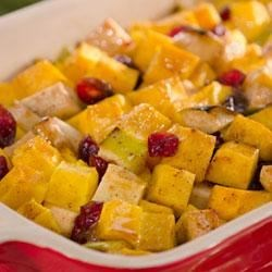 Becel(R) Holiday Butternut Squash with Apple and Cranberries Recipe - While this dish begs to gain a seat at your holiday table along with the roast turkey, it also pairs well with a weeknight skinless chicken dinner. Try this recipe tonight using Becel(R) Buttery Taste, with irresistible flavor and 80% less saturated fat than butter.